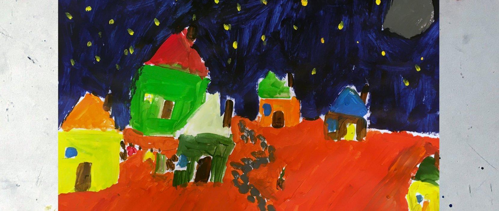 maleri ørkenby om natten