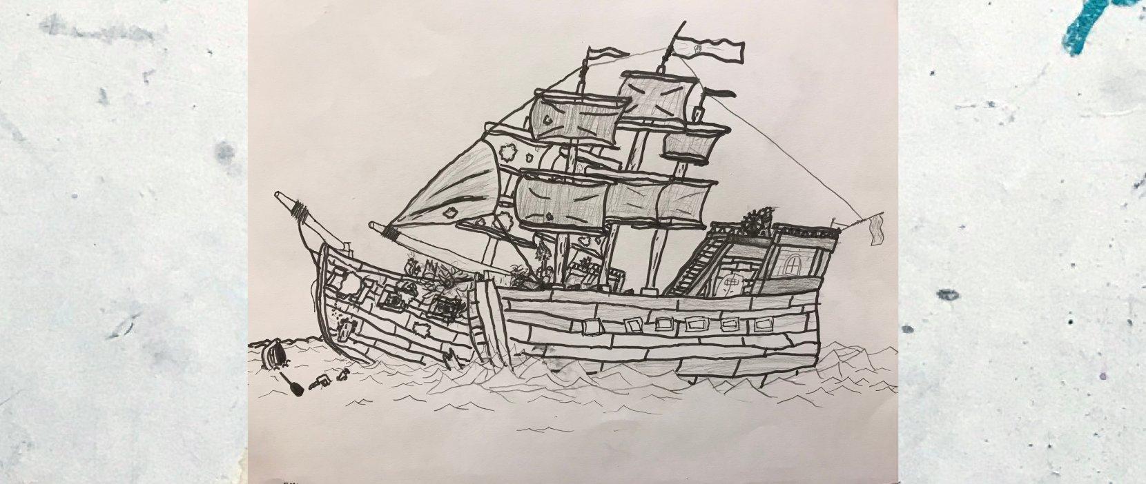 tegning af sørøverskib