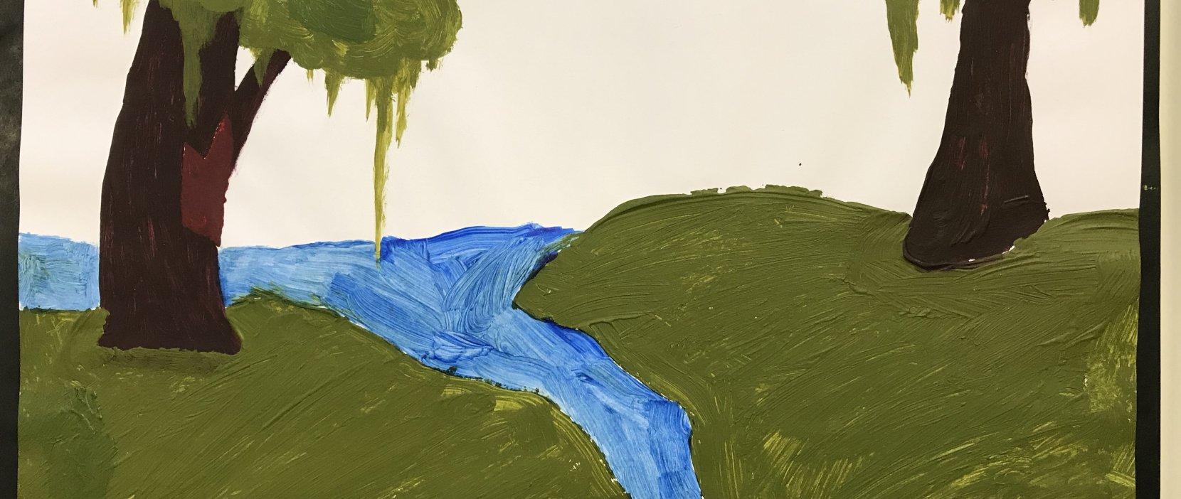 billede af maleri med vandløb og to træer