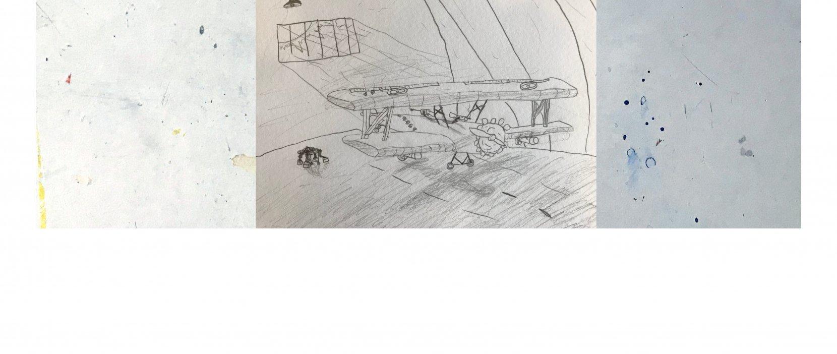 Tegning af gammel flyvemaskine