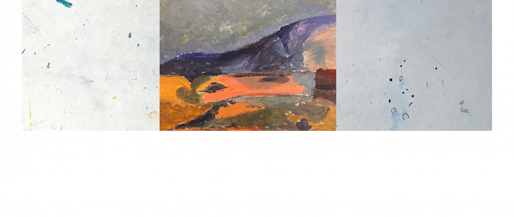 billede af maleri landskab med mørkt bjerg
